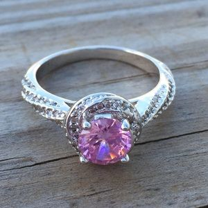 Pink Sapphire halo twist silver ring w/ crystals